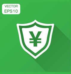 Yen yuan shield money currency icon in flat style vector