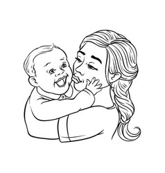 young mother holding in arms and kissing her vector image