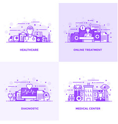 Flat line purple designed concepts 9 vector