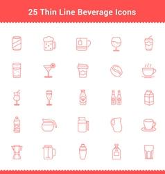 Set of Thin Line Stroke Beverage Icon vector image