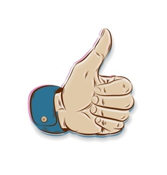 Thumbs Up symbol hand drawn isolated on white vector image vector image