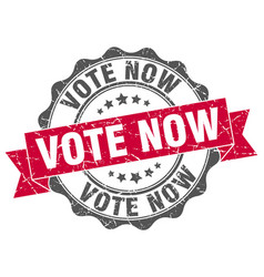 vote now stamp sign seal vector image