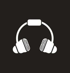 white icon on black background music vector image