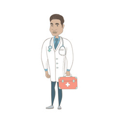 Young hispanic doctor holding first aid box vector