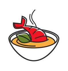 bowl with cream soup made of lobster isolated vector image