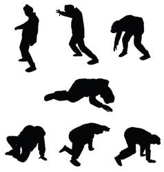 drunk man silhouette vector image