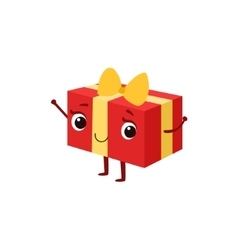 Square Gift Box With Yellow Bow Kids Birthday vector image