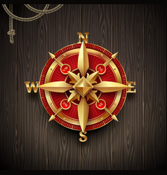 Golden ancient compass rose vector