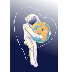 Hug in Space vector image