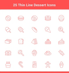 Set of Thin Line Stroke Dessert and Sweet Icon vector image