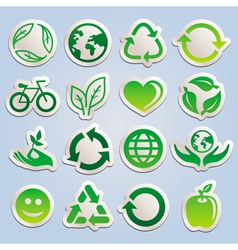 set with ecology stickers vector image vector image