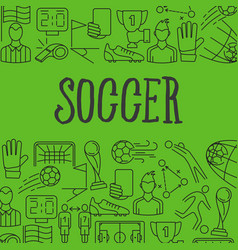 soccer icons in frame vector image vector image