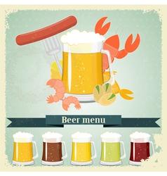vintage beer menu postcard vector image