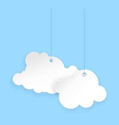 cartoon paper clouds vector image vector image