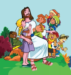 Jesus with children vector