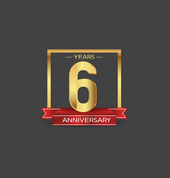 6 years anniversary logo style with golden square vector
