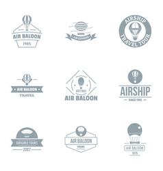 air balloon logo set simple style vector image