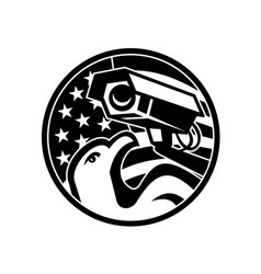american eagle and security camera usa flag vector image