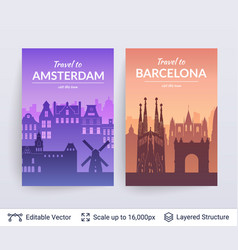 amsterdam and barcelona famous city scapes vector image