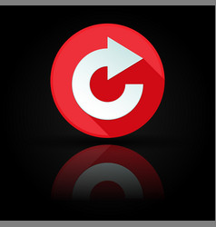 Arrow icon red sign with reflection on black vector