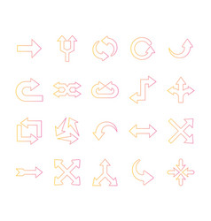 Arrows gradient style bundle icons vector
