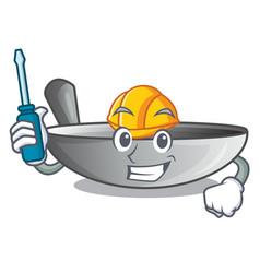 Automotive frying pan wok isolated on mascot vector
