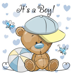 Baby shower greeting card with cute teddy bear boy vector