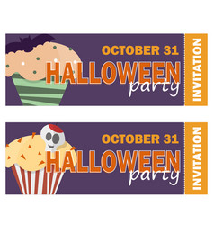 Background with halloween cupcake - invitation to vector