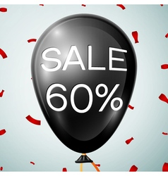 Black Baloon with text Sale 60 percent Discounts vector