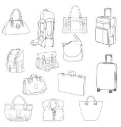 Black contours of different bags and suitcases vector