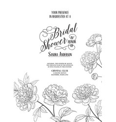 bridal shower vertical card announcement line vector image