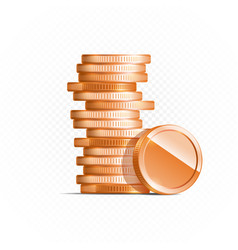 Bronze coins isolated on transparent in different vector