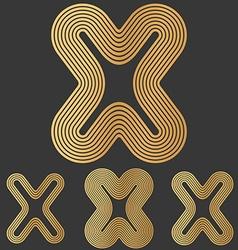 Bronze line x logo design set vector image