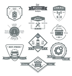 Car Repair Black White Badges vector