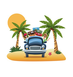 cartoon couple luggage car parked on the tropical vector image