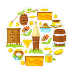 Cartoon elements of beekeeping vector