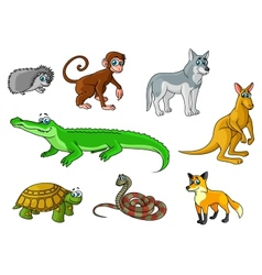 Cartoon forest and jungle wild animals vector image