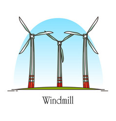 cartoon wind turbine or rotation energy windmill vector image