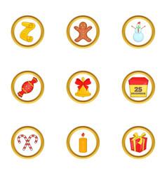 Christmas day icons set cartoon style vector
