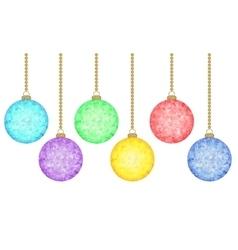Christmas polygonal balls set vector image