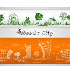 City doodle seamless border vector