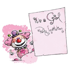 Clown Holding Invitation Its a Girl Party vector