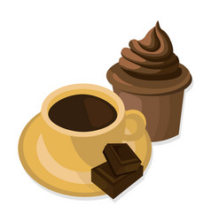 Coffee cup and sweets delicious modern vector