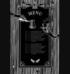 Coffee menu hands with a cup and arabic vector