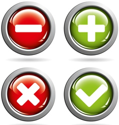 Colored buttons with yes and no vector image