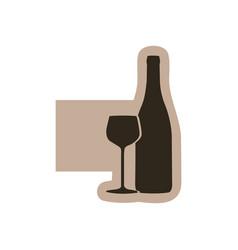 contour emblem wine bottle with glass icon vector image