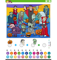Counting and adding game with cartoon halloween vector