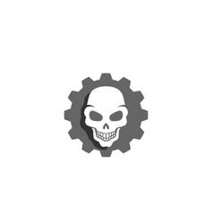 creative gear skull logo design vector image