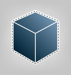 cube sign blue icon with vector image