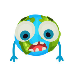 cute cartoon sad earth planet emoji humanized vector image
